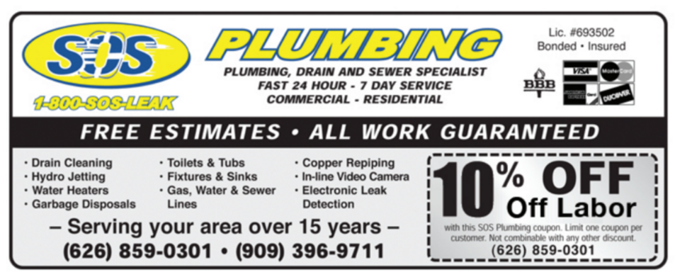 Emergency Plumbers Plumbing Repair Rooter Contractor Leaky Pipes Drain Cleaning Clogged Toilet Sewer Line Kitchen Shower Water Heater Replacement Copper Repipe in Near Arcadia CA 91006, Arcadia CA 91007,  Azusa CA 91702, Covina CA 91722, Covina CA 91723, Covina CA 91724, Monrovia CA 91016, Pasadena CA 91101, Pasadena CA 91102, Pasadena CA 91103, Pasadena CA 91104, Pasadena CA 91105, Pasadena CA 91106, Pasadena CA 91107, West Covina CA 91790, West Covina CA 91791,  West Covina CA 91792, West Covina CA 91793,